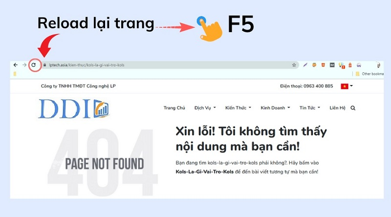 Sửa lỗi 404 bằng cách tải lại trang