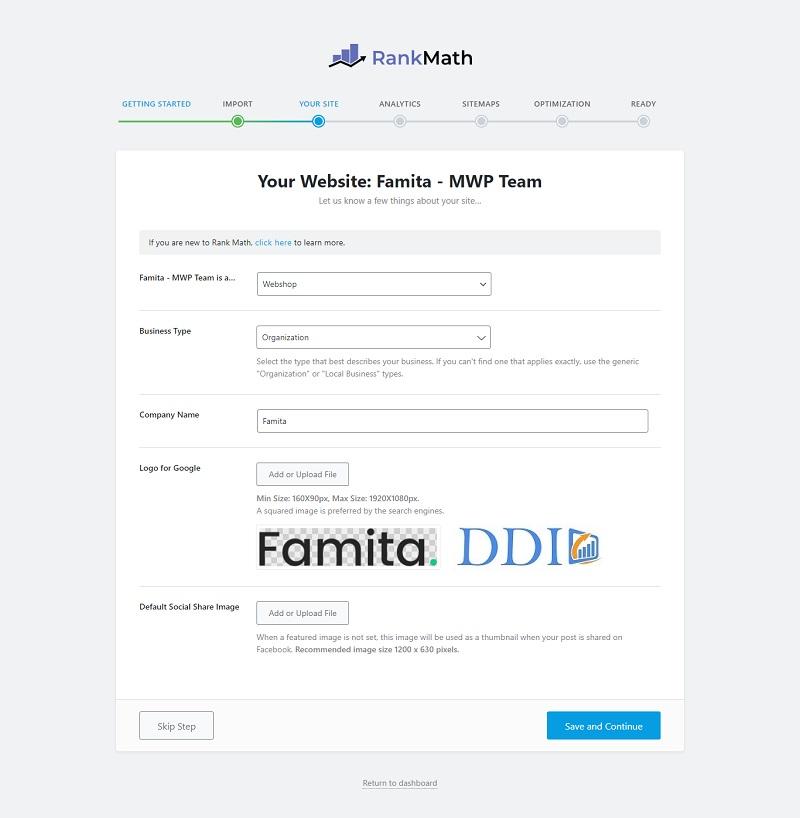 Thiết lập thông tin cơ bản của website