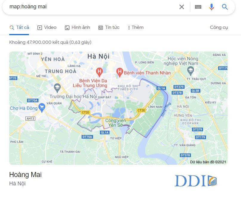 Toán tử yêu cầu Google hiển thị bản đồ cho một vị trí cụ thể