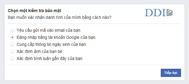 Checkpoint Facebook bằng 'Đăng nhập vào tài khoản Email'