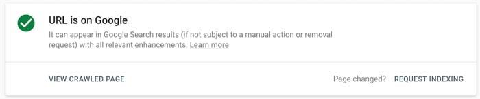 Google Search Console xác nhận đã add URL vào Google