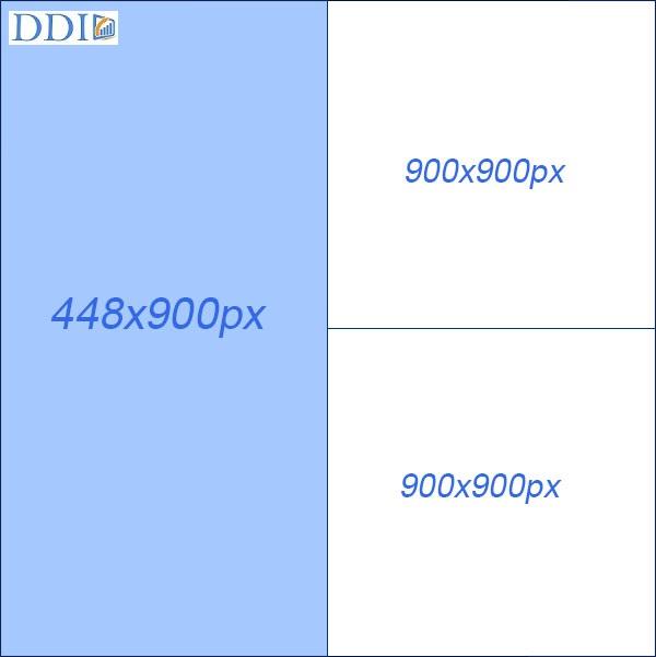 Kích thước ảnh quảng cáo 1 hình đứng và 2 hình vuông