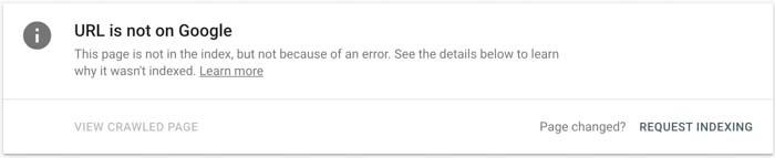 URL chưa được Index